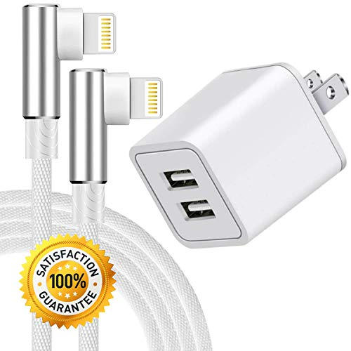 Boost Chargers 10W USB Power Wall Adapter 2.4A 2-Port Fast Charge w/ 90 Degree Right Angle 3FT 6FT Nylon Braided Sync & Charger Cord Compatible for iPhone 8 / X / 7 / 6S / Plus + More (3-Pack)