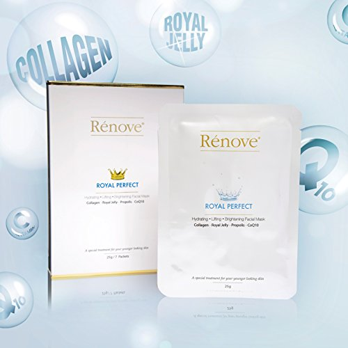 Renove Royal Perfect Facial Mask Pack 7 pack, collagan, royal jelly, propolis, coq10 facial mask (Collagen Jelly Pack Mask compare prices)