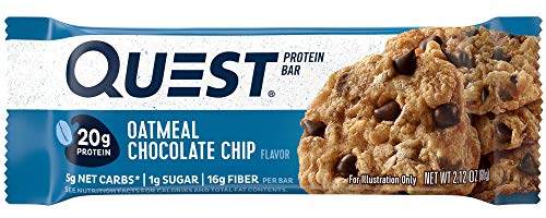 Quest Nutrition Oatmeal Chocolate Chip Protein Bar, High Protein, Low Carb, Gluten Free, Soy Free, Keto Friendly, 12 ()