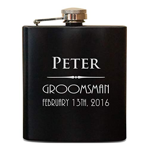 (Monogrammed flask, Personalized flask, Engraved flask, Groomsman Gift, Black Matte Groomsman flask, Custom hip flask)