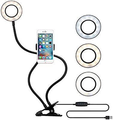Dimmable 2-in-1 Selfie Ring Light with Mobile Phone Holder for Live Makeup Lighting Lazy Mobile Phone Holder