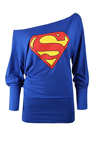 Batman Products : Oops Outlet Women's Superman Batman Comic Hero Batwing Off Shoulder Slouch Top