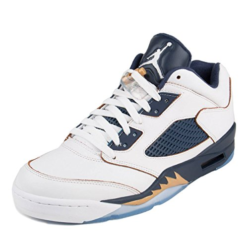 (Nike Mens Air Jordan 5 Retro Low Dunk from Above White/Metallic Gold-Midnight Navy Leather Size 12 )