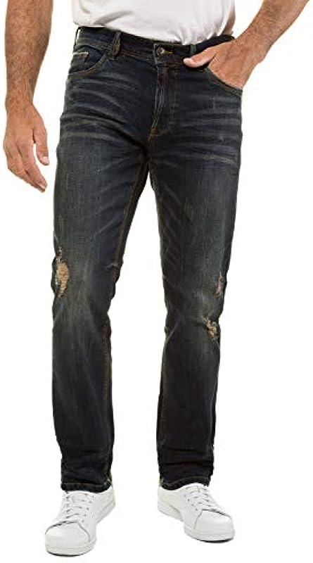 JP 1880 męskie duże rozmiary do 70, dżinsy w stylu vintage, 5 kieszeni, efekty prania i destylacji, normalna szerokość ud i nÓg, normalna szerokość stopy, 720253: JP 1880: Odzież