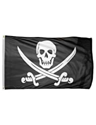 US Flag Store Printed Polyester Pirate Jack Rackham Flag, 3 b...