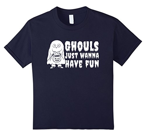 Girls Just Wanna Have Fun Costume (Kids Ghouls Just Wanna Have Fun T-shirt Spooky Ghost Costume 12 Navy)