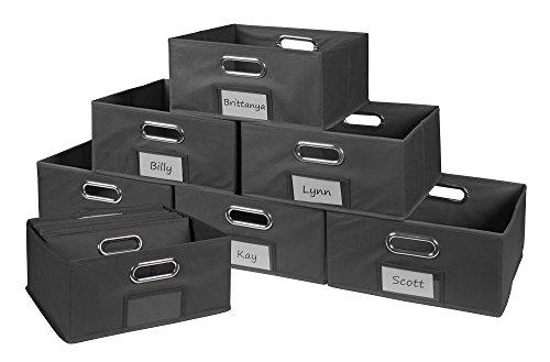 Niche Cubo Half-Size Foldable Fabric Storage Bins (Set of 12), Grey