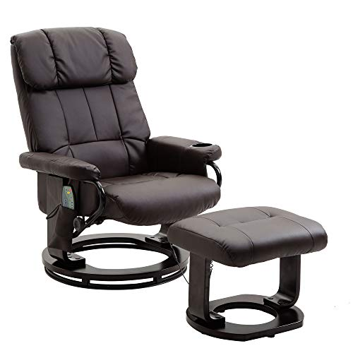 windaze Massage Leather Recliner Ottoman Living Room Chair Set 8-Vibration Motors & Heat with Swiveling Mahogany Wood Base and Cup ()