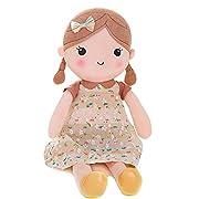 Gloveleya Spring Girl Wearing Brown Floral Dress Stuffed Baby Dolls Kids Plush Toys 21'' (Brown L)