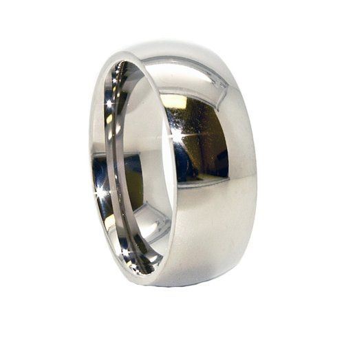 Classic 8mm Domed Titanium Wedding Band Size 12