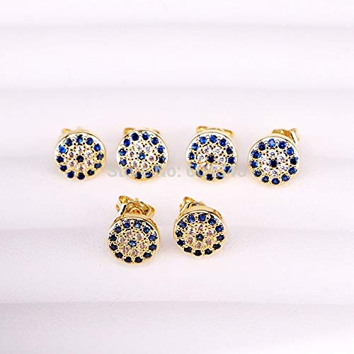 Blue White Round Earrings | Micro Pave Cubic Zirconia Geometric Round Disco Charm Eye Stud Earrings (10pairs)]()