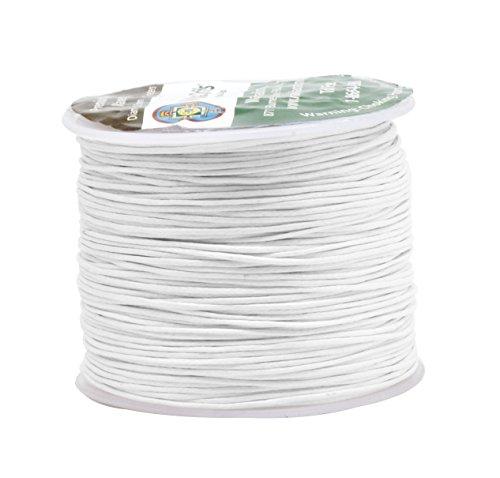 White Wax Cord - Mandala Crafts 0.5mm 109 Yards Jewelry Making Crafting Beading Macramé Waxed Cotton Cord Thread (White)