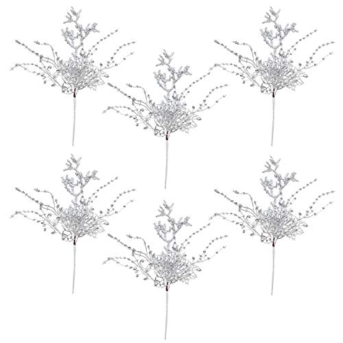 Atiflr 6 Pack Silver Christmas Picks, 13 Inch Artificial Flower for Christmas Tree Ornaments, DIY Xmas Wreath, Crafts, Holiday and Home Decor