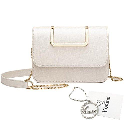 Yoome Upscale Pure Color Moda Flap Bolsa De La Cadena Bolsas Para Las Niñas Bolsas De Negocios Para Las Mujeres De Cuero - Negro Blanco