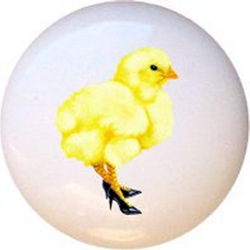 Hot Chick Chicken Bird Decorative Glossy Ceramic Drawer Pull Knob