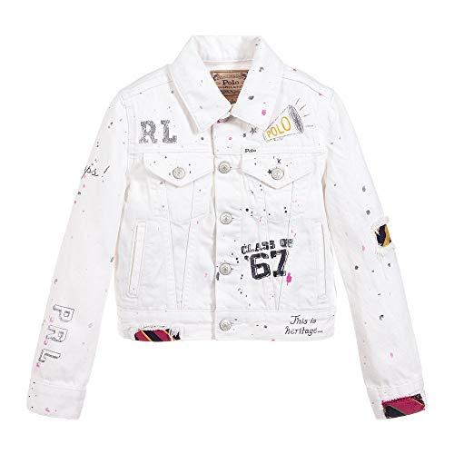Ralph Lauren Polo Girls Graffiti Cotton Denim Jacket (4T) White