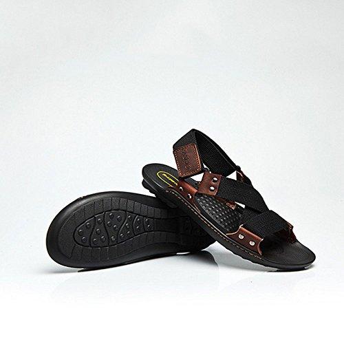 Xiaoqin aperta in da interni punta Color regolabili per per sport EU con Sandali per esterno uomo casual da adatti uomo Black 42 Size Brown pelle e rUFEzrqwx