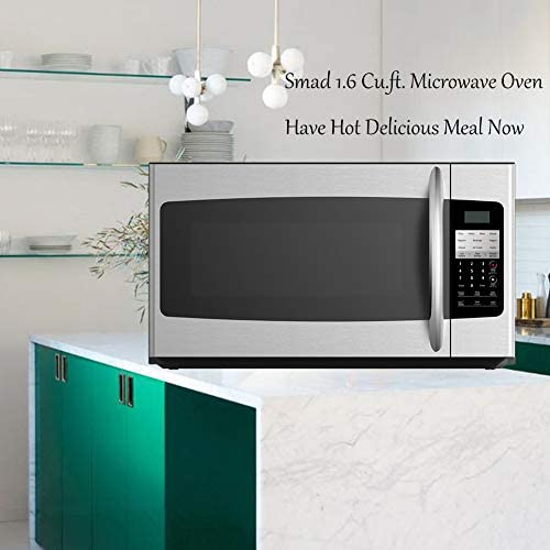 Smad Over The Range Microwave Oven 1.6 Cu.Ft. For Home & Restaurant OTR Microwave Oven 1000 Watts With ECO Mode & Child Lock & 300 CFM, Stainless Steel