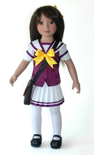 Kohanna 18 inch Japanese Doll in School Dress and Blue Gift Box by CARPATINA