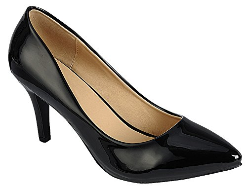 Patent Mid Toe Pump Select Black Heel Women's Stiletto Pu Comfort Cambridge Classic Pointed 0pPgZq