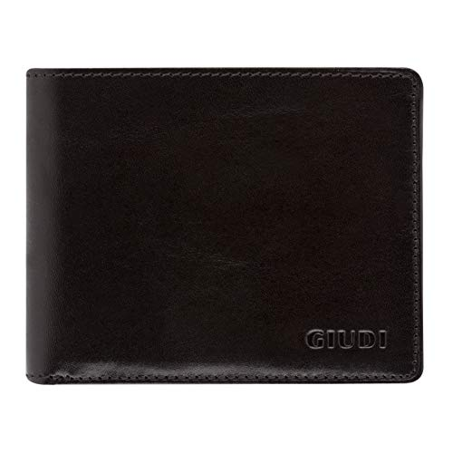 c24d8c581a49 Giudi Bifold Men's Wallet Made in Italy - Beautiful Smooth Genuine Leather  - 2 Pockets for Cash - 8 Credit Card Slots - Elegant Black Color - Splendid  ...