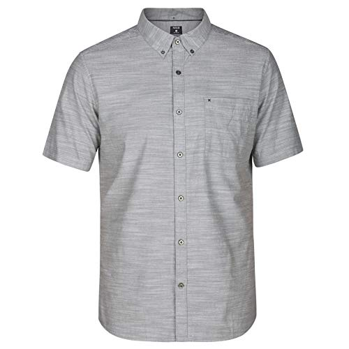 Hurley Men's One & Only Textured Short Sleeve Button Up, Clay Green, XL (100 Cotton Mens Short Sleeve Dress Shirts)