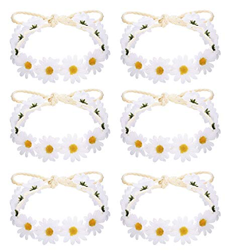 Milacolato 6-12Pcs Handmade Daisies Sunflower Headband Boho Floral Wreath Bridal Headpiece for Wedding Festivals Hair Accessories White
