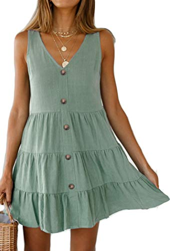 (Halife Casual Dresses for Women Summer Elegant Pleated Tiered Short Dress with Button Decor Light Green XL)