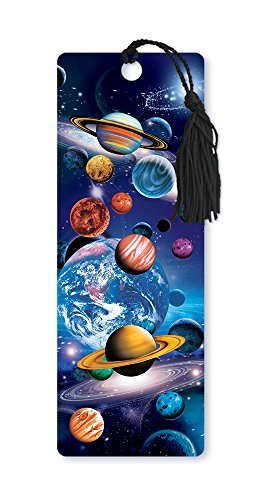 Dimension 9 3D Lenticular Bookmark with Tassel, Planets in Space -