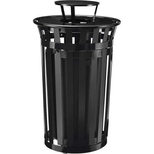 Global Industrial Outdoor Metal Slatted Waste Receptacle w/Access Door,Rain Bonnet - 36 Gal BK