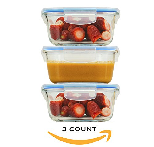 FIRE + ICE 3-Piece Glass Food Storage and Meal Prep Containers Set- Travel Safe Snap On Airtight Locking Lids Silicone seal (Fire Ice Glass)