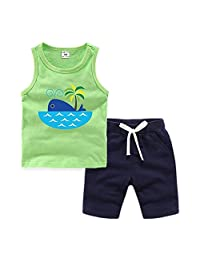 Kids Cotton Tank Top Undershirts Girl and Boy's Cute Printed Vest Sports Suit Children's Sleeveless Soft Comfort Crew Neck Tank Top Short Set T-Shirt with Pants for Boys or Girls
