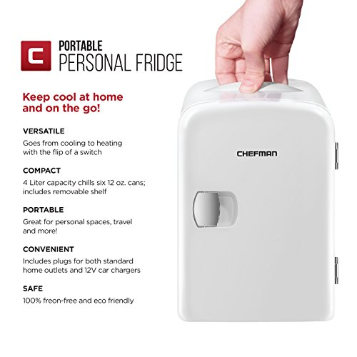 Chefman Portable Compact Personal Fridge Cools & Heats, 4 Liter Capacity Chills Six 12 oz Cans, 100% Freon-Free & Eco Friendly, Includes Plugs for Home Outlet & 12V Car Charger - White by Chefman (Image #1)
