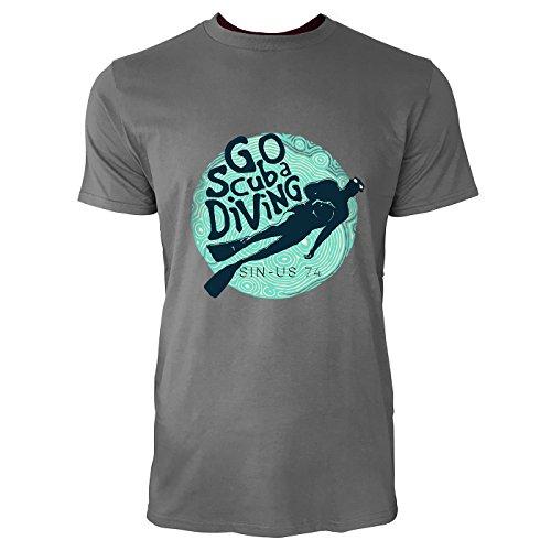 SINUS ART® Taucher mit Aufschrift Go Scuba Diving Herren T-Shirts in Grau Charocoal Fun Shirt mit tollen Aufdruck