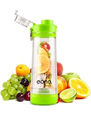 Amazon Brand: Eono Essentials Infuser Fruit Water Bottle with Handle, Fruit Water Bottle, Infuser Water Bottle,  Fruit Infusion Diy Funny Food Insulated 20oz 600ml (green)