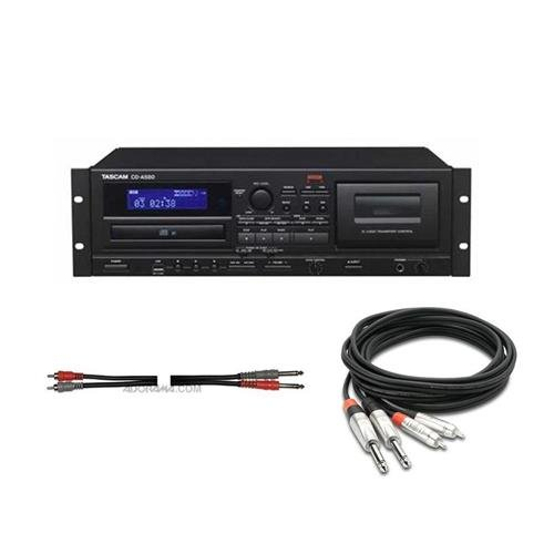 Tascam CD-A580 Cassette, USB and CD Player/Recorder – WITH 3′ Pro Stereo Interconnect Dual REAN 1/4in TS Male to RCA Male Audio Cable, Hosa Two 1/4in Phone Male to Two RCA Male, 6.6′ Unbalanced Cable