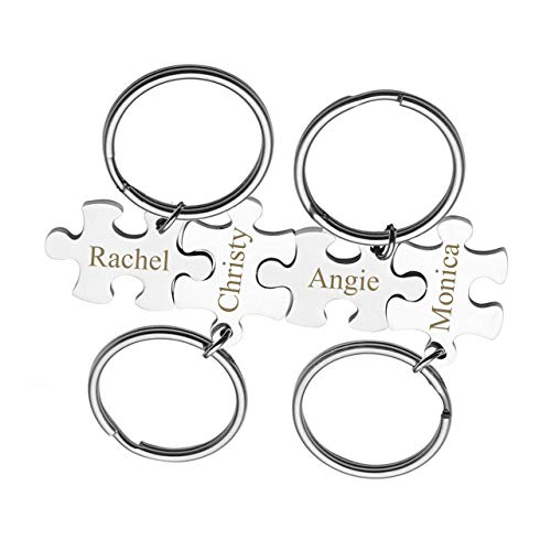 Personalized Master Free Engraving Custom Engraved Name Message Stainless Steel Puzzle Matching Piece Pendant Keychain Set of 4, for Sisters Best Friends BFF Friendship Gift