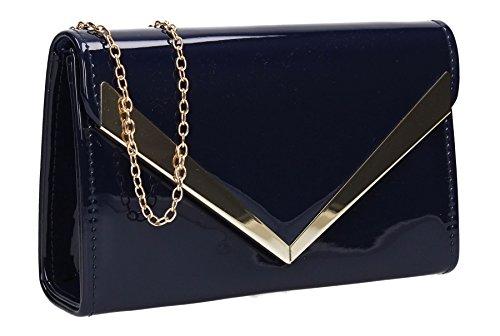 Rita Clutch Navy Envelope Womens SwankySwans Patent Blue ZxqgP5Aw