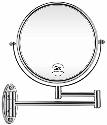 GloRiastar 5X Wall Mounted Makeup Mirror - Double Sided Magnifying Makeup Mirror - Mirrors Bathroom Narrow Led