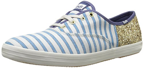 Keds Champion Stripe - Keds Women's Champion Cabana Stripe Glitter, Vivid Blue/Gold, 8 M US