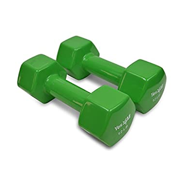 Yes4All PVC Dumbbells (Sold In Pair),  Emeral Green, 12 lb