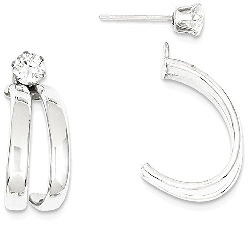 ICE CARATS 14k White Gold Cubic Zirconia Cz Stud Ear Jacket Earring Jackets For Studs Fine Jewelry Gift Set For Women Heart by ICE CARATS