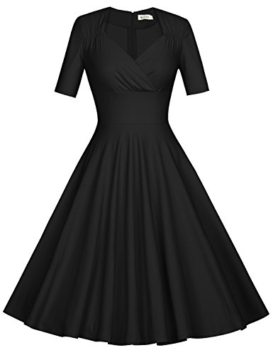 MUXXN Women's 50s Retro Solid Patchwork Pleated Swing Dress (2XL, Black)