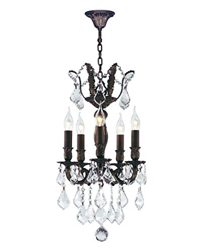 - Worldwide Lighting Versailles Collection 5 Light Flemish Brass Finish and Clear Crystal Mini Chandelier 15