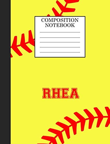 Rhea Composition Notebook: Softball Composition Notebook Wide Ruled Paper for Girls Teens Journal for School Supplies | 110 pages 7.44x9.269 por Sarah Blast