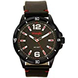 Wrangler Men's Watch, 48mm Black Case, Black Face, Black Band, Red Accents, Second Hand (WRT5500-1A)