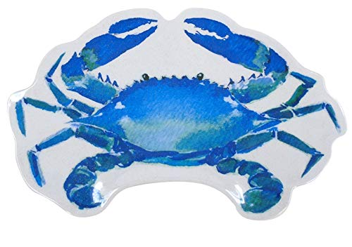 Blue Crab Shaped Serving Platter 12 Inches Melamine