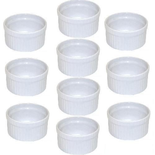 Viva-Haushaltswaren - 10 weiße Auflaufformen für Creme Brulee / Ragout fin Ø 9 cm - B-Ware