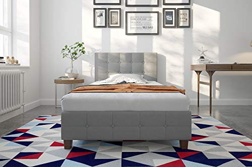 DHP Rose Linen Upholstered Platform Bed, Gray, Twin