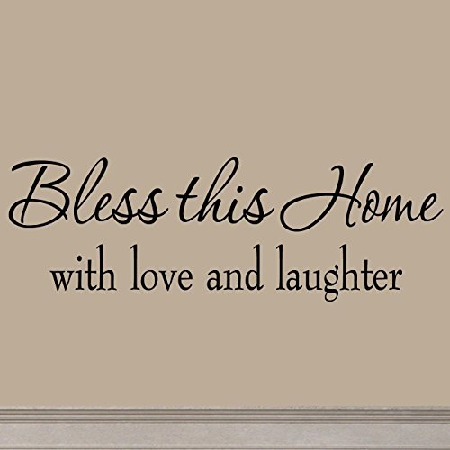 Bless This Home with Love and Laughter Decal Wall Quote Religious Sayings Vinyl Wall Art Decor Home Blessing
